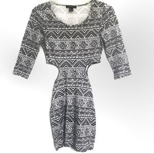 B&W Aztec Bodycon Dress - F21